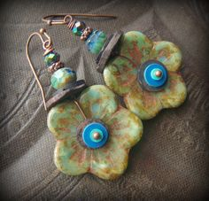 Flower, Glass, African Beads, Czech Glass,Shell, Vinyl  Colorful, Beaded Earrings by YuccaBloom on Etsy