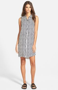 Wayf Button Front Woven Shirt Dress available at #Nordstrom