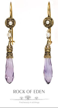 Amethyst and Pearl Gold Earrings | rockofeden.com #rockofeden #findbeautyinallthings #amethyst #pearl #gold #earrings #accessories