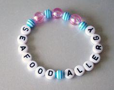 Medical Alert Bracelet, Seafood Allergy, Food Restriction, Diet Information, Kids, Children, Personalized Children's Jewelry by NadiaBo