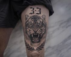 Lion Tattoos That Define Perfection Tiger and Lion Tattoos That Define Perfection - Tattoo artist Lazer Liz, authors style black&grey floral and animal tattoo Tiger Tattoo Thigh, Tigh Tattoo, Tiger Tattoo Sleeve, Thigh Tattoo Men, Knee Tattoo, Best Sleeve Tattoos, Forearm Tattoos, Body Art Tattoos, Mens Leg Tattoo