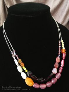 Necklace (freshwater pearls, new jade, agate, crystal beads + sterling silver) in warm tones of amethyst and violet. An original design by Kristin Lauricella.