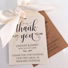 18 'Thank you for sharing our first meal' Wedding/favour tags - white, Ivory or Kraft Brown