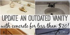 MUST PIN!  Learn how to transform a cultured marble vanity with concrete on Remodelaholic.com!