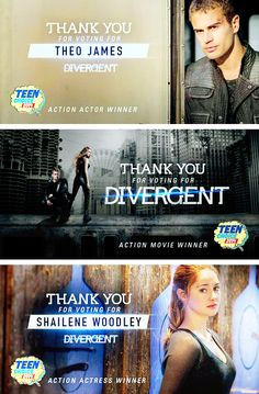 Congratulations to Divergent, Shailene Woodley and Theo James for your Teen Choice Award wins!