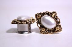 """Diamond Gold and Pearl Wedding Plugs 1/2 9/16 5/8 3/4 Inch 12mm 14mm 16mm 19mm 1/2"""" 9/16"""" 5/8"""" 3/4"""""""