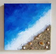 Beach painting ocean decor with real sand and seashells art .- Strand Malerei Ozean Dekor mit echtem Sand und Muscheln Kunst Beach painting ocean decor with real sand and shells art -