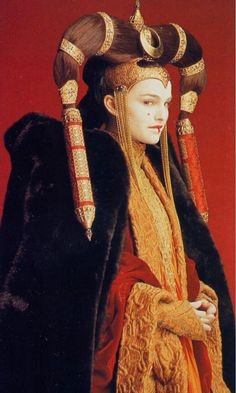 Padme Amidala senate costume from Star Wars Episode I. hairstyle inspired by hairstyle of khalkha Mongolian married women