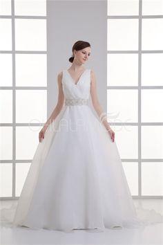Robe de mariée en balle modeste V col décoration perlée en satin /organza