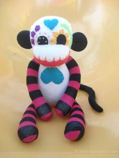 Sock Monkey : Dia De Los Muertos - Sugar Skull Stuffed Monkey Doll - Pink and Black Limbs