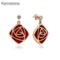 Bohemian Red Australian Rhinestone Pierced Stud Earrings Gold Plated for Women Teen Girl //Price: $15.99 & FREE Shipping // #accessories #love #crystals #beautiful