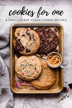 The best vegan single serve cookie recipes. Chocolate chunk, Birthday Cake, Peanut Butter and Chocolate Hazelnut Espresso. The best single serve cookie recipe made vegan with crispy edges and soft centers. Delicious Cookie Recipes, Easy Baking Recipes, Vegan Dessert Recipes, Yummy Cookies, Sweet Recipes, Yummy Food, Giant Cookies, Healthy Desserts, Cookies Vegan