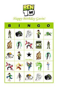 Ben 10 Birthday Party Game Bingo Cards   eBay