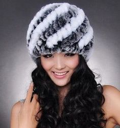 New Knitted genuine natural REX rabbit fur hat cap headgear headdress women warmer skullies Wholesale Free shipping