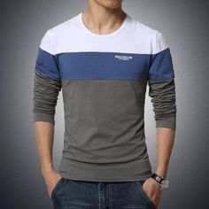 autumn and winter Hitz solid color stitching round neck long-sleeved sleeve Men's T-Shirt 2016 Free shipping