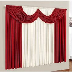 Centre Table Living Room, Red Living Room Decor, Living Room Decor Curtains, Stage Curtains, Drapes Curtains, Valances, Cortinas Cottage, Bed Cover Design, Altar Design