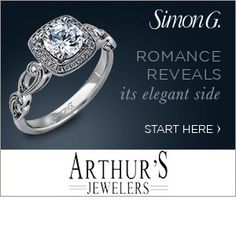 Romance reveals it's elegant side. ~ Simon G #ArthursJewelers #SimonGJewelry #DiamondRings