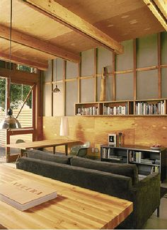 living, ply, fc sheet, exposed ceiling joists Exposed Ceilings, Exposed Beams, Living Room Designs, Living Rooms, Converted Garage, Micro House, Hall Design, Modern Kitchen Design, Interior Inspiration