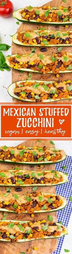 These Mexican stuffed zucchini with kidney beans, corn, and rice are one of my favorite vegan dinners! Super easy to make, SO delicious, and healthy!
