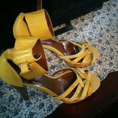 Yellow ankle strap heels Yellow platform ankle strap heels Shoes Sandals