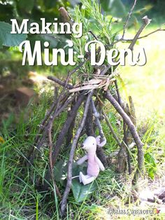 We just love making mini-dens with the kids! Easier and quicker than doing a big build, mini-dens are a great way to introduce them to the den making skills they'll also need for their next big woodland hidehout. Click through for loads of tips and ideas Forest School Activities, Nature Activities, Summer Activities, Toddler Activities, Learning Activities, Kids Activity Ideas, Den Ideas For Kids, Outdoor Preschool Activities, Gruffalo Activities