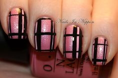 Nails In Nippon: Pink And Black Plaid Tutorial