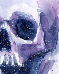 Fall Canvas Painting, Watercolor Art Paintings, Skull Painting, Painting Inspiration, Art Inspo, Watercolor Galaxy, Watercolour, Skull Wall Art, Dark Drawings
