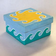 Sun and Sea Beach Jewelry Gift Box Hand Painted by annarobertsart