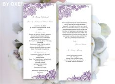 Printable Wedding ceremony program template Vintage by Oxee, $7.00
