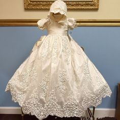 b74ac3482ac New First Communication Gown Baptism Dress Lace White Ivory Charming With  Bonnet