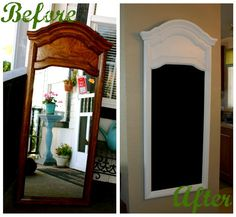One pinner said: bought a mirror at a thrift store and turned it into a chalkboard. very easy and inexpensive.