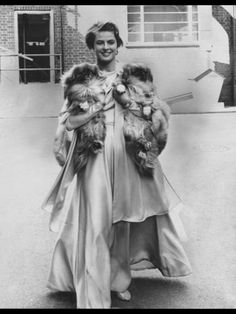"Ingrid Bergman with two 'doggie' friends, during the filming of ""The Yellow Rolls-Royce"" in 1964"