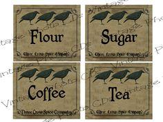 free images primitive lables | Primitive Canister Labels FH139 Flour Sugar Coffee Tea for Jars Cans ...