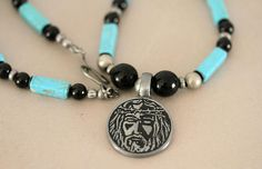 Men's Religious Turquoise and Onyx Necklace Jesus Face