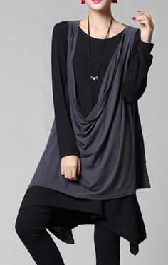 Casual Round Collar Color Splicing Pleated Long Sleeves Plus Size Knit Dress Twinset For Women