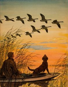 52 Ideas For Dogs Art Painting Canvases Hunting Painting, Hunting Art, Duck Hunting, Wildlife Paintings, Wildlife Art, Hunting Drawings, Hunter Dog, Outdoor Art, Art Auction