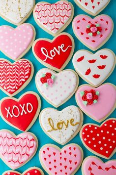 Valentine's Day Sugar Cookies are actually super cute butter cookies shaped like hearts and decorated with royal icing in ten different designs. Valentine Desserts, Valentines Day Cookies, Valentines Baking, Valentine's Day Sugar Cookies, Sugar Cookie Royal Icing, Iced Cookies, Heart Cookies, Wedding Cake Cookies, Cookie Designs