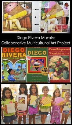 Diego Rivera for Kids: very cool mural collaborative, multicultural art project. This turns out amazing and gets tons of compliments!! Perfect for Spanish classes, clubs, Girl Scouts, International Week, homeschool coops, etc. It works best with a group o Art Lessons For Kids, Artists For Kids, Art For Kids, Kid Art, Diego Rivera Art, Hispanic Art, Collaborative Art Projects, Murals For Kids, Teaching Art