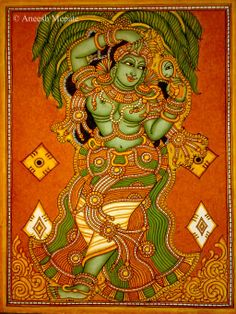Kerala mural art on pinterest kerala krishna and indian for Asha mural painting