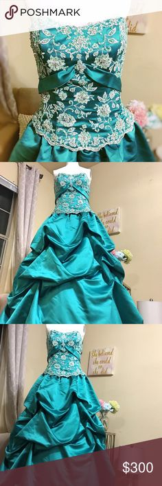 """Alfred Angelo Emerald Prom Dress This Alfred Angelo gown is  stunning. The color is Jade, appears Emerald, and the bodice is embedded with a rhinestone design. The tulle underneath gives for a princess feel. This dress does NOT have a size tag and was altered to fit me when it was first purchased and the size listed is the closest approximation.measurements were taken laid flat and any extra meas. Will happily be taken. worn once for 2.5hr. Perfect condition.   Bodice- 14"""" long Narrowest…"""