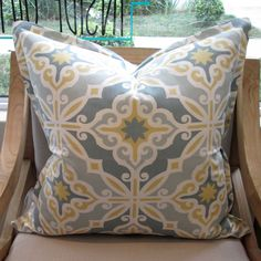 Aqua and Yellow - 60 x 60 - Inside Out Home Boutique - Not in stock - Available for order online