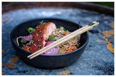 Salmon and noodlesalad.