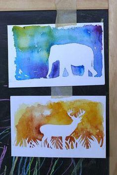 Silhouet. Dieren. Een tekening of kleurplaat van een dier uitknippen en vervolgens met ecoline er overheen verven.
