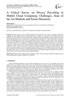 PDF | With the explosive growth of mobile applications and extensive praxis of cloud computing, mobile cloud computing has been introduced to be a... | Find, read and cite all the research you need on ResearchGate Location Based Service, Research Publications, Mobile Applications, Cloud Computing, Computer Science, Pdf, Clouds, Technology, Tech