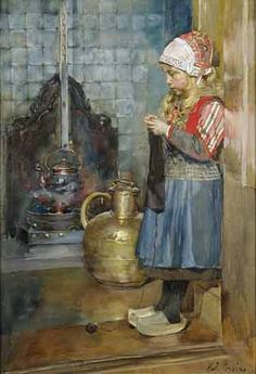 Jeune Hollandaise Tricotant, Rudolf Possin (1861 - 1922)