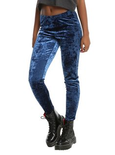 """<div>She wore blue velvet</div><div>Bluer than velvet was the night.</div><div><br></div><div>Woah woah woah, these blue velvet leggings from Blackheart are everything we've ever dreamed of! Wear them under dresses, skirts, shorts or alone as pants for an amazingly soft look.</div><div><ul><li style=""""list-style-position: inside !important; list-style-type: disc !important..."""