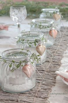 Advent Wreath - Advent Wreath Lanterns - a unique product by schoengemachtes . - Advent Wreath – Advent Wreath Wind Lanterns – a unique product by schoengemachtes- on DaWanda - Jar Centerpieces, Wedding Centerpieces, Wedding Table, Diy Wedding, Centerpiece Ideas, Wedding Ideas, Wedding Groom, Pot Mason Diy, Mason Jar Crafts
