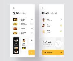 Split Pay Check App Design Concept by Den Klenkov Design Android, App Ui Design, Design Design, Check In App, Ui Design Mobile, Dinner With Friends, Branding, Ui Design Inspiration, Screen Design