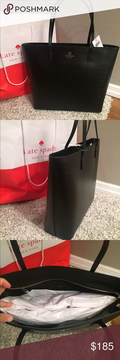 """♠️Kate Spade Tori Tote♠️ ⭐️NWT Kate Spade Tori Tote.. ❤️Color is Black♠️11.5""""h x 12.2""""w x 4.1""""d♠️Strap drop length: 8.7""""♠️MATERIAL♠️Smooth leather ♠️capital kate jacquard lining in black♠️14-karat light gold plated hardware ♠️tote has zipper closure♠️dual interior slide pockets and zip pocket🔴NO TRADES🔴💥Less on Ⓜ️💥 kate spade Bags Totes"""
