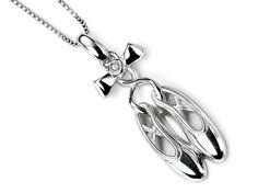 D for Diamond Silver Pendant - Ballet Shoes